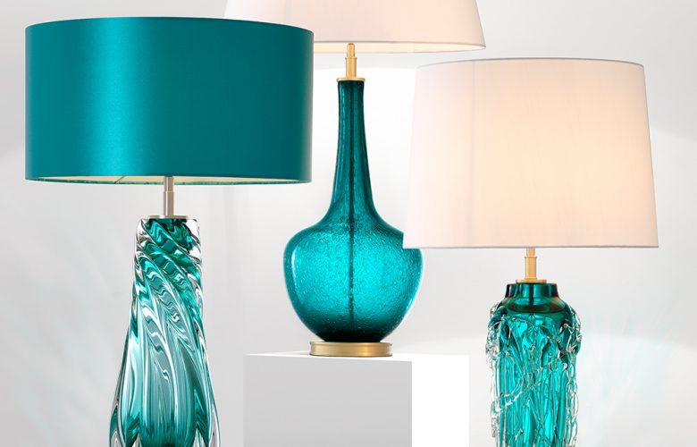 Mundgeblasene-Glas-Tischlampen-Sixties-style